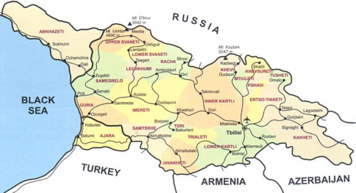 Georgien Karte Regionen.Georgien Georgia Kaukausus Caucasus